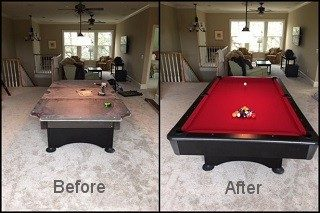 Pool table refelting services in Redding, California.