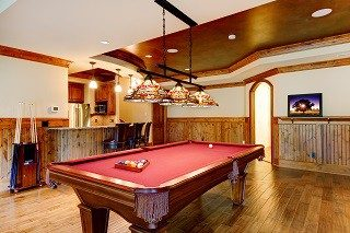 Approximate pool table room sizes in Redding, CA